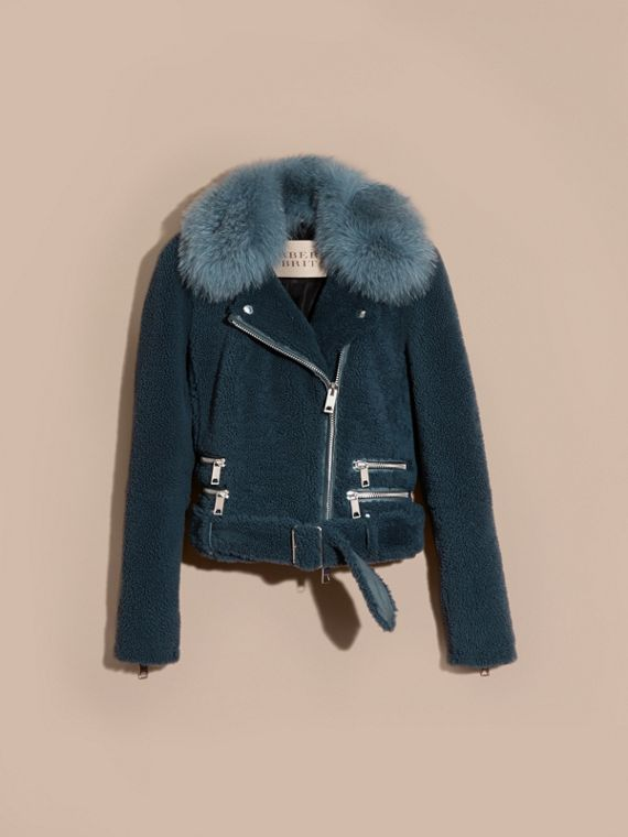 Light steel blue Shearling Biker Jacket with Fur Collar Light Steel Blue - cell image 3