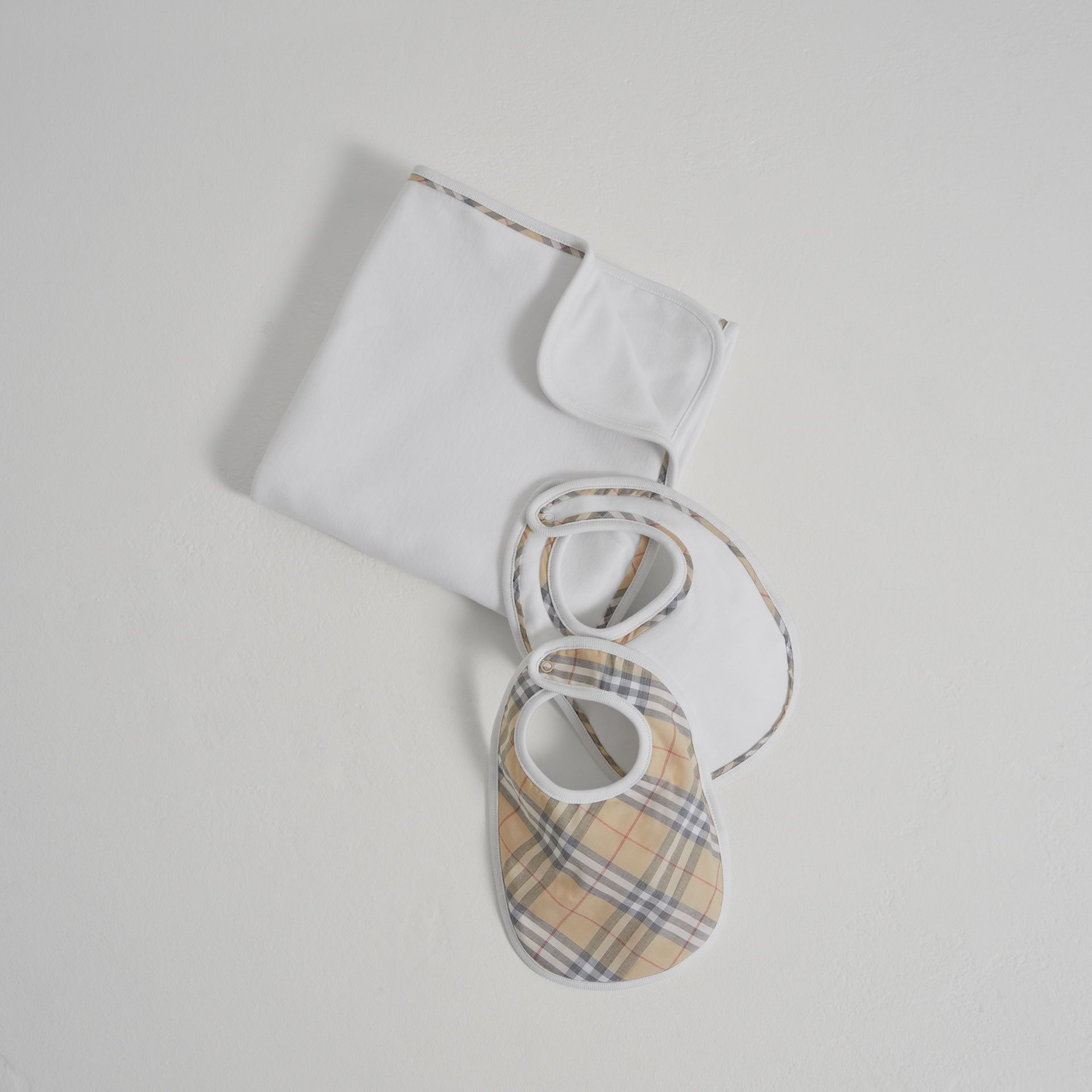 Cotton Three-piece Baby Gift Set in White | Burberry United States - gallery image 0