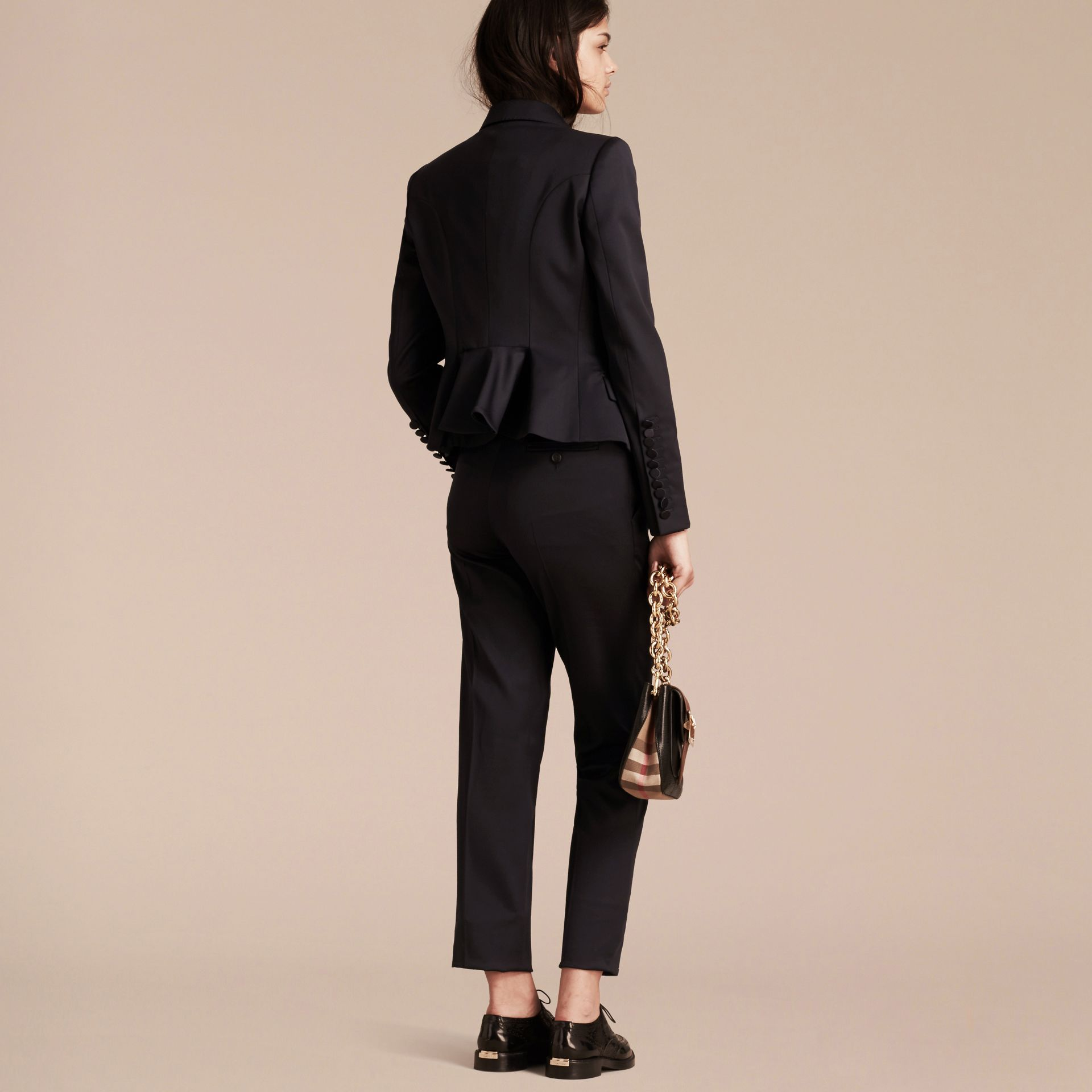 Wool Blend Tuxedo Jacket in Ink - Women | Burberry - gallery image 3