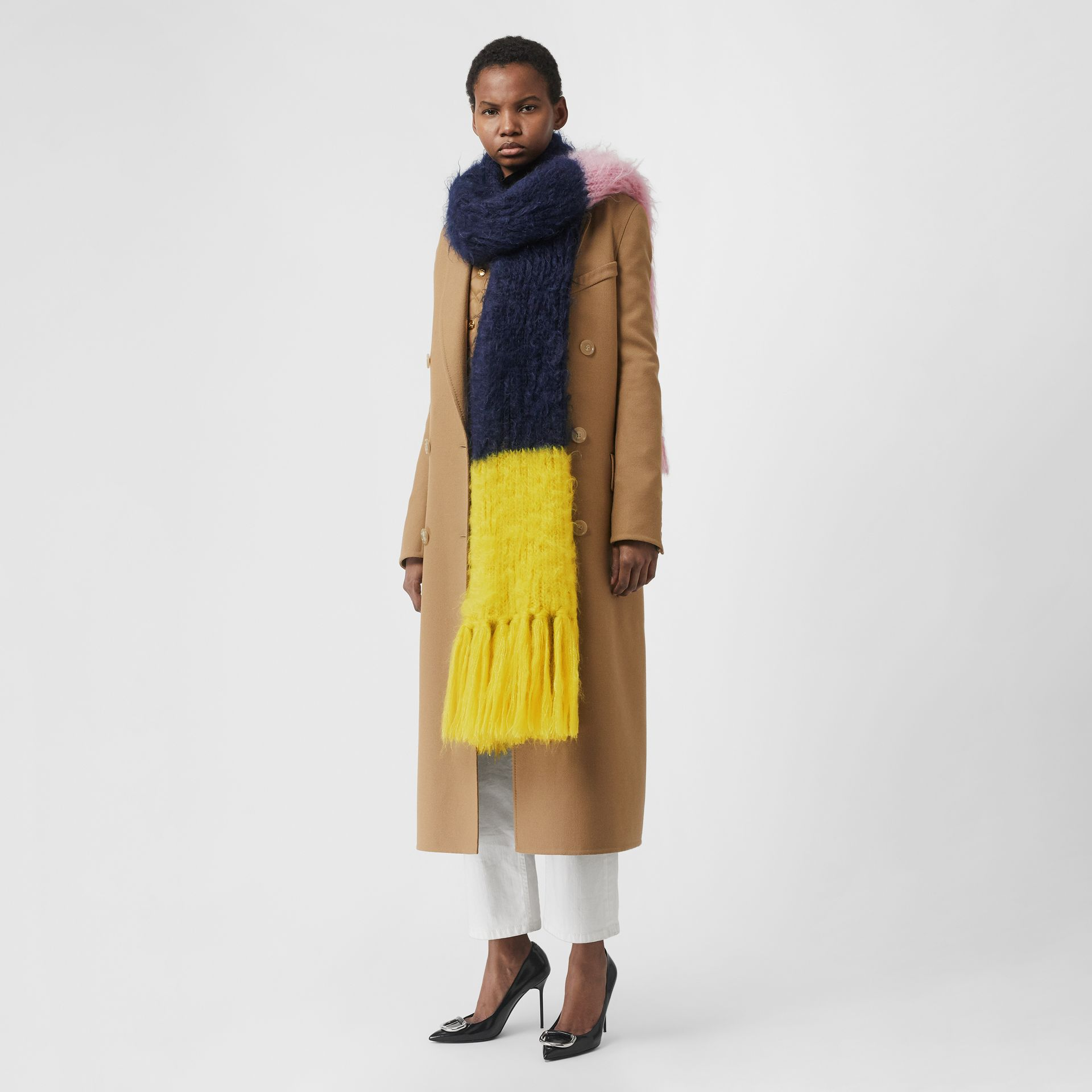 Colour Block Mohair Silk Oversized Scarf in Ink Blue - Women | Burberry - gallery image 2