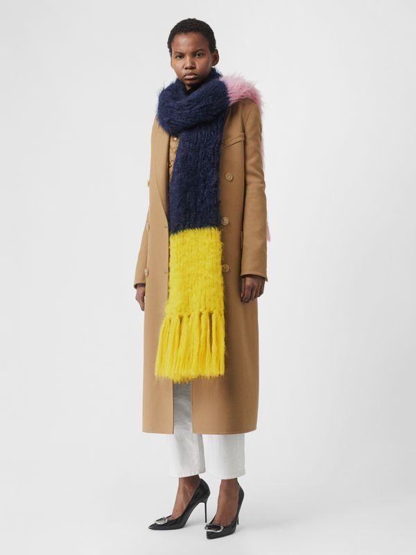 Colour Block Mohair Silk Oversized Scarf in Ink Blue - Women | Burberry - cell image 2