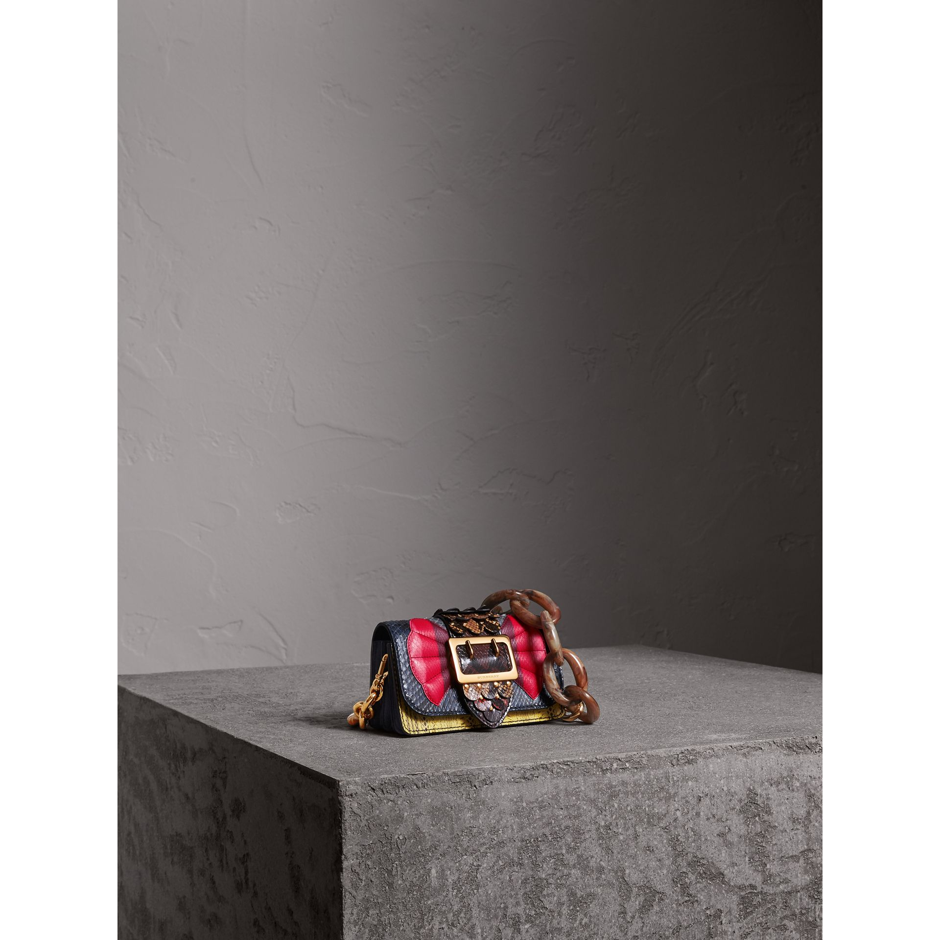 The Small Buckle Bag in Scallop Trim Snakeskin in Yellow - Women | Burberry - gallery image 8