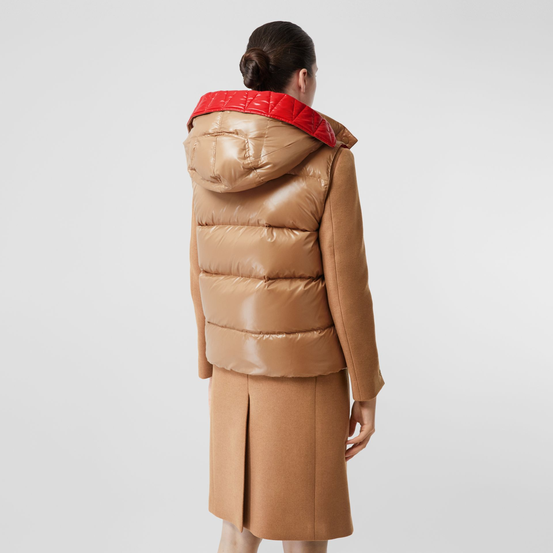 Camel Hair Tailored Coat with Detachable Gilet in Bronze - Women | Burberry - gallery image 6