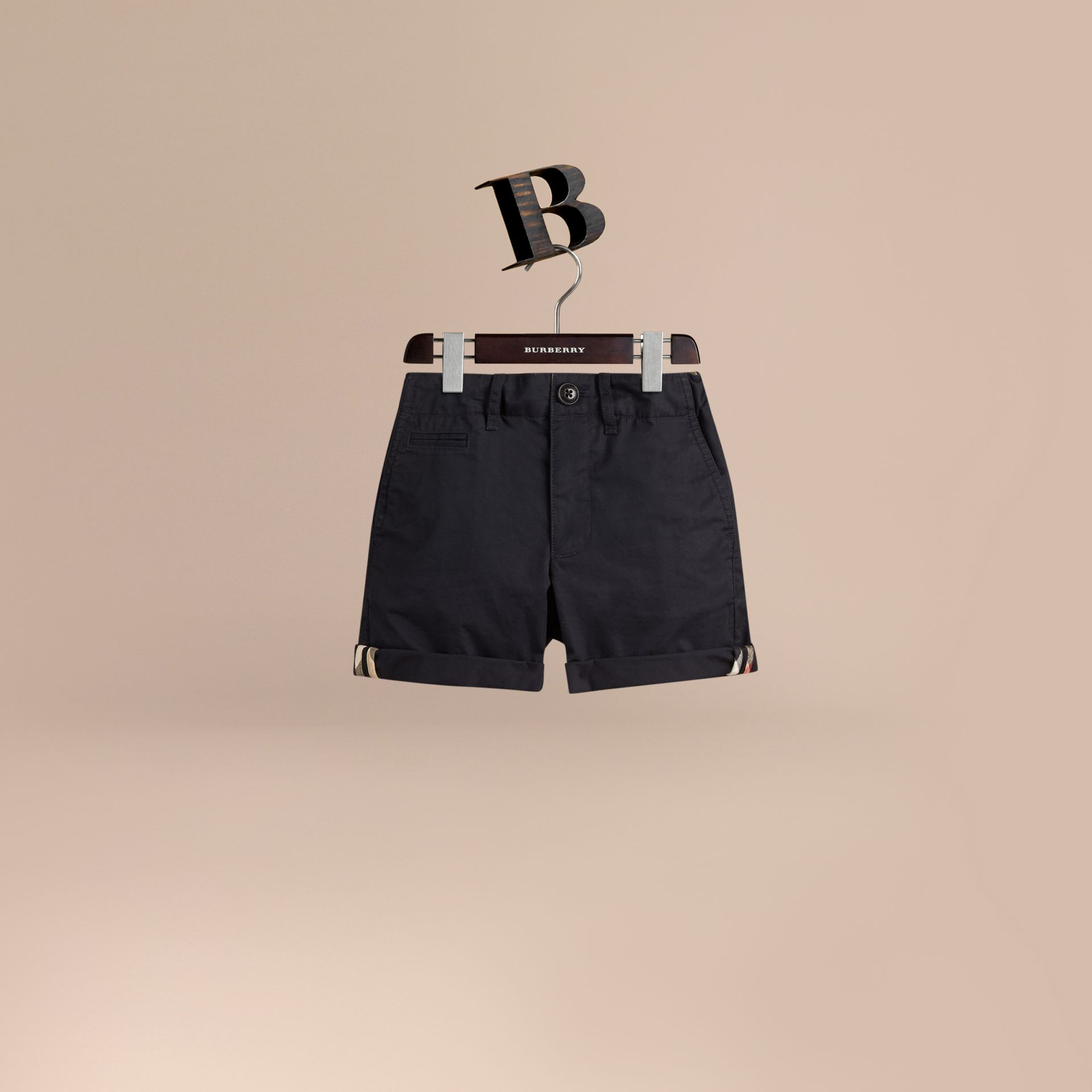 Check Detail Cotton Chino Shorts in Ink - Boy | Burberry Canada - gallery image 1