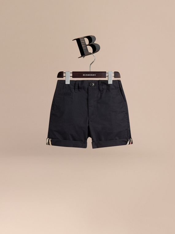 Check Detail Cotton Chino Shorts in Ink - Boy | Burberry Singapore