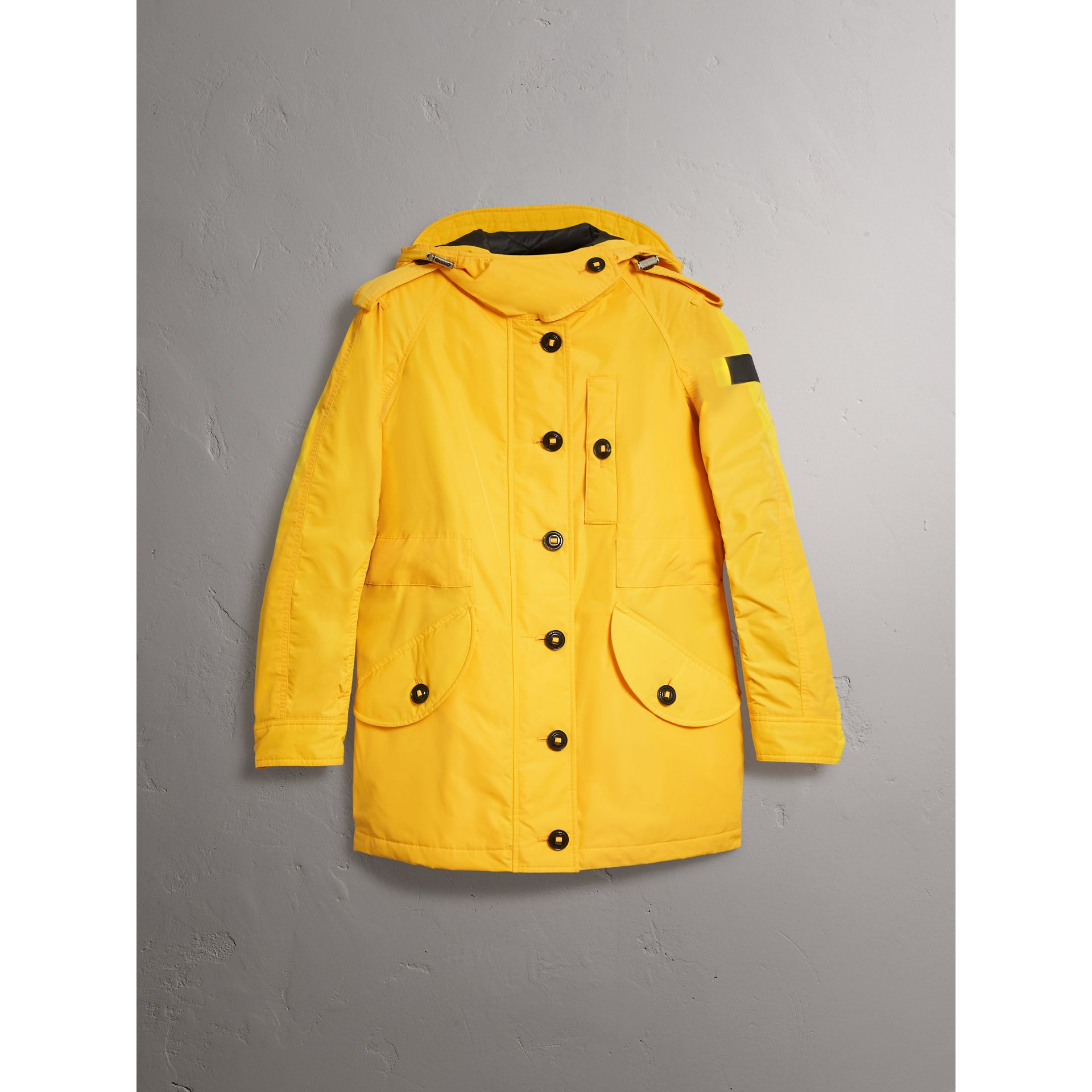 Technical Taffeta Hooded Parka in Bright Yellow - Women | Burberry United Kingdom - gallery image 4