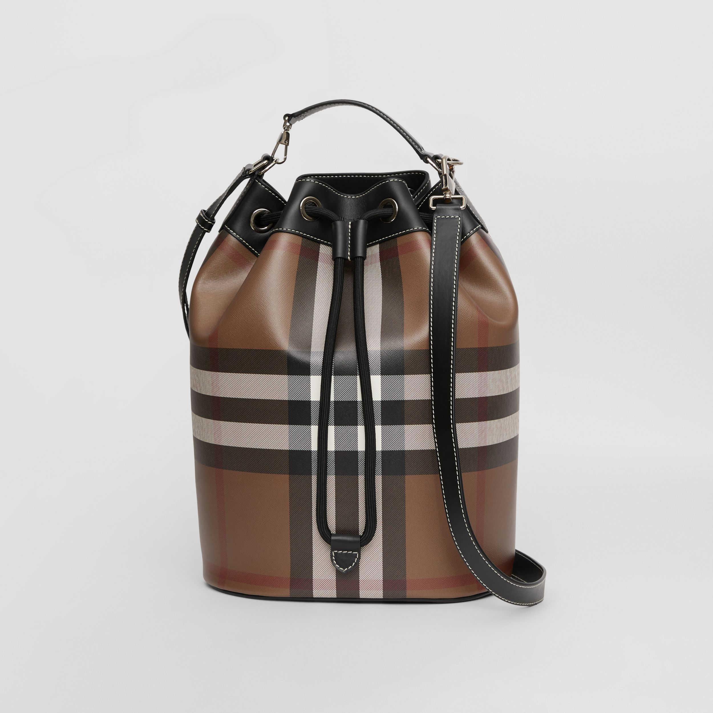 Check Print Leather Drawcord Tote in Dark Birch Brown | Burberry - 1