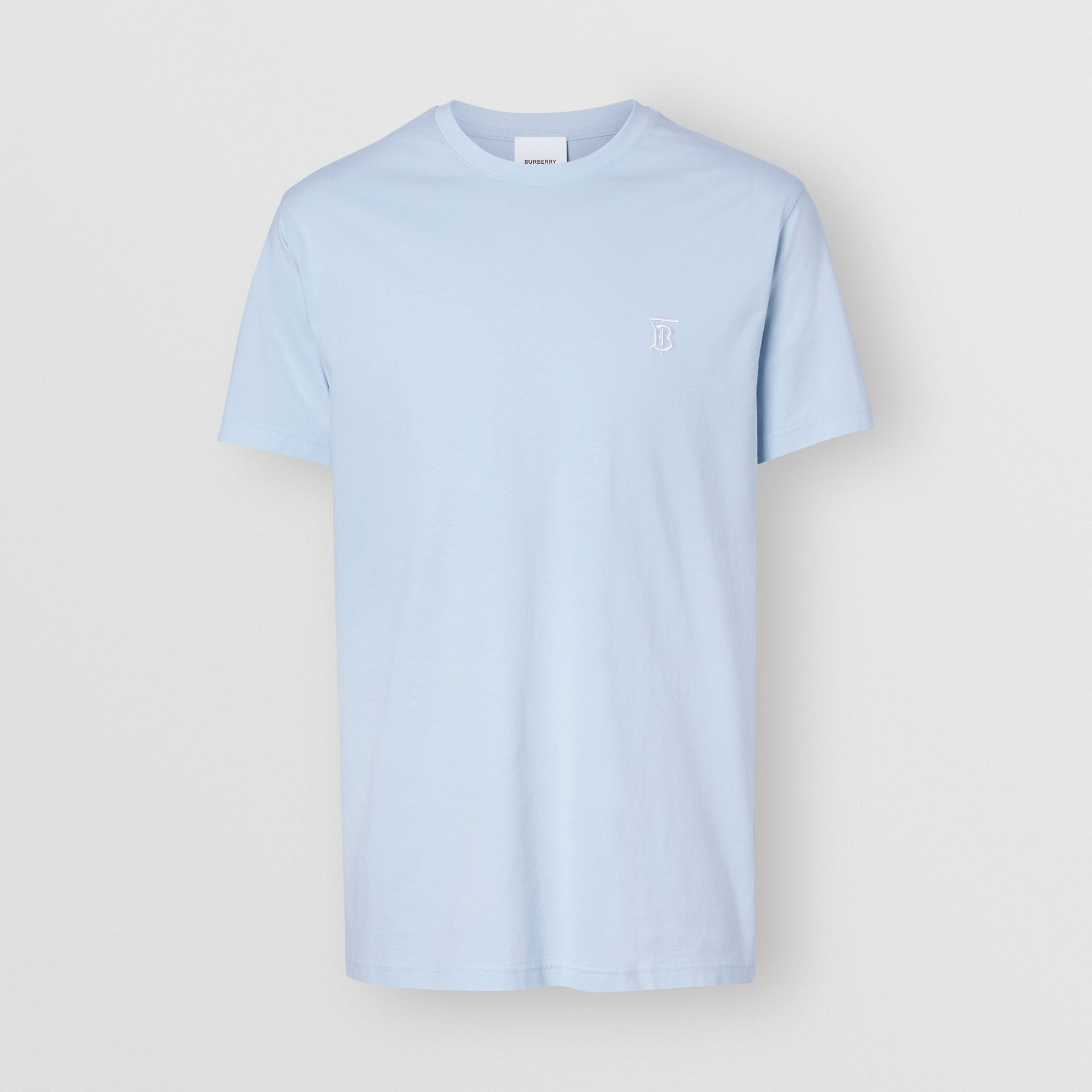 Monogram Motif Cotton T-shirt in Pale Blue - Men | Burberry - gallery image 3