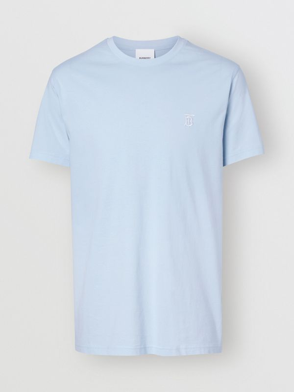 Monogram Motif Cotton T-shirt in Pale Blue - Men | Burberry United Kingdom - cell image 3