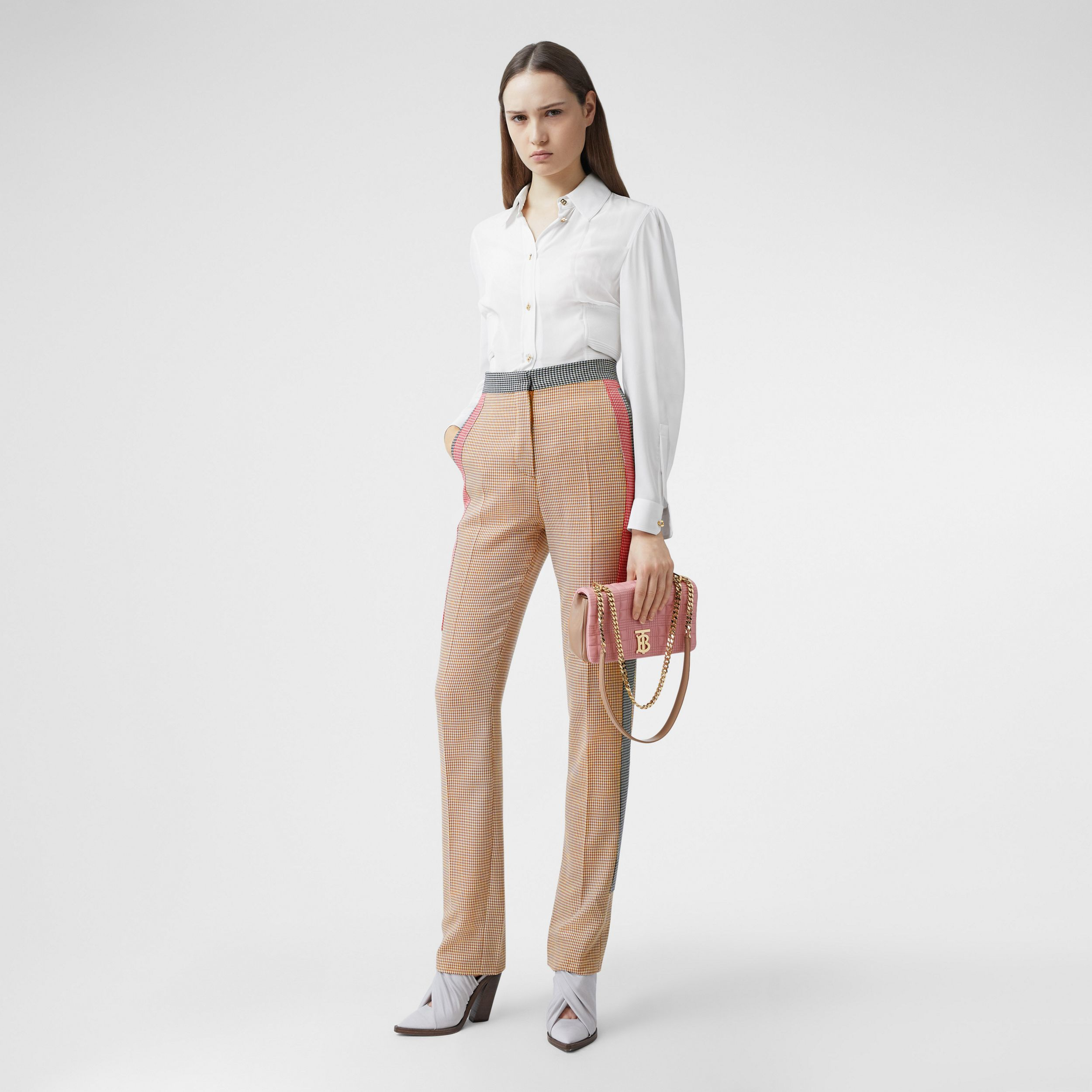 Houndstooth Check Wool Tailored Trousers in Bronze - Women | Burberry - 1