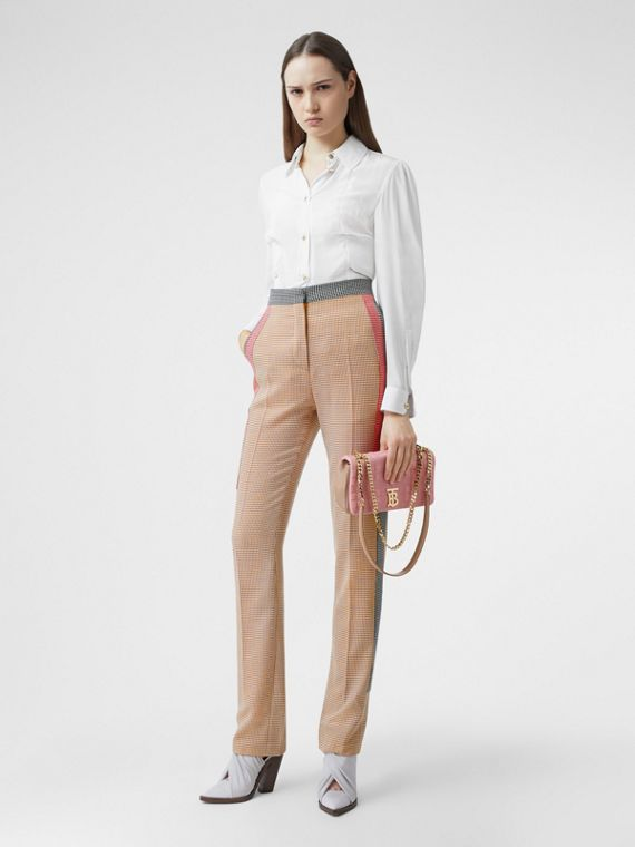 Houndstooth Check Wool Tailored Trousers in Bronze