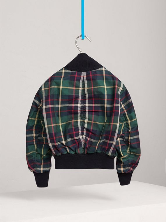 Tartan Cotton Bomber Jacket in Racing Green - Girl | Burberry - cell image 3