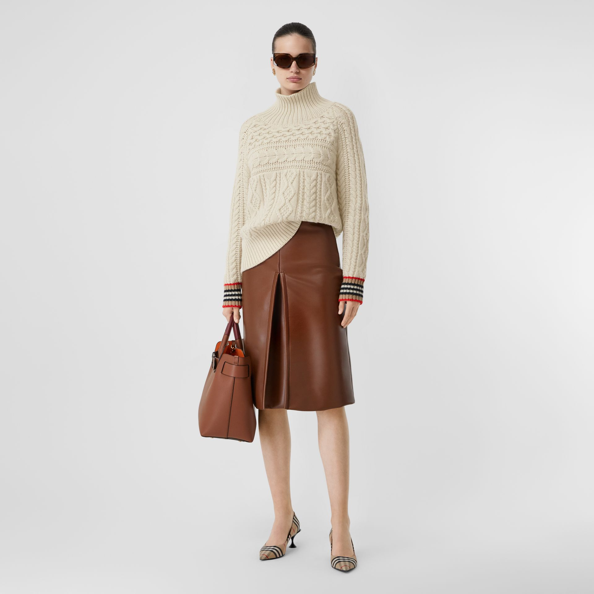 Icon Stripe Cuff Cable Knit Cashmere Sweater in Natural White - Women | Burberry - gallery image 5