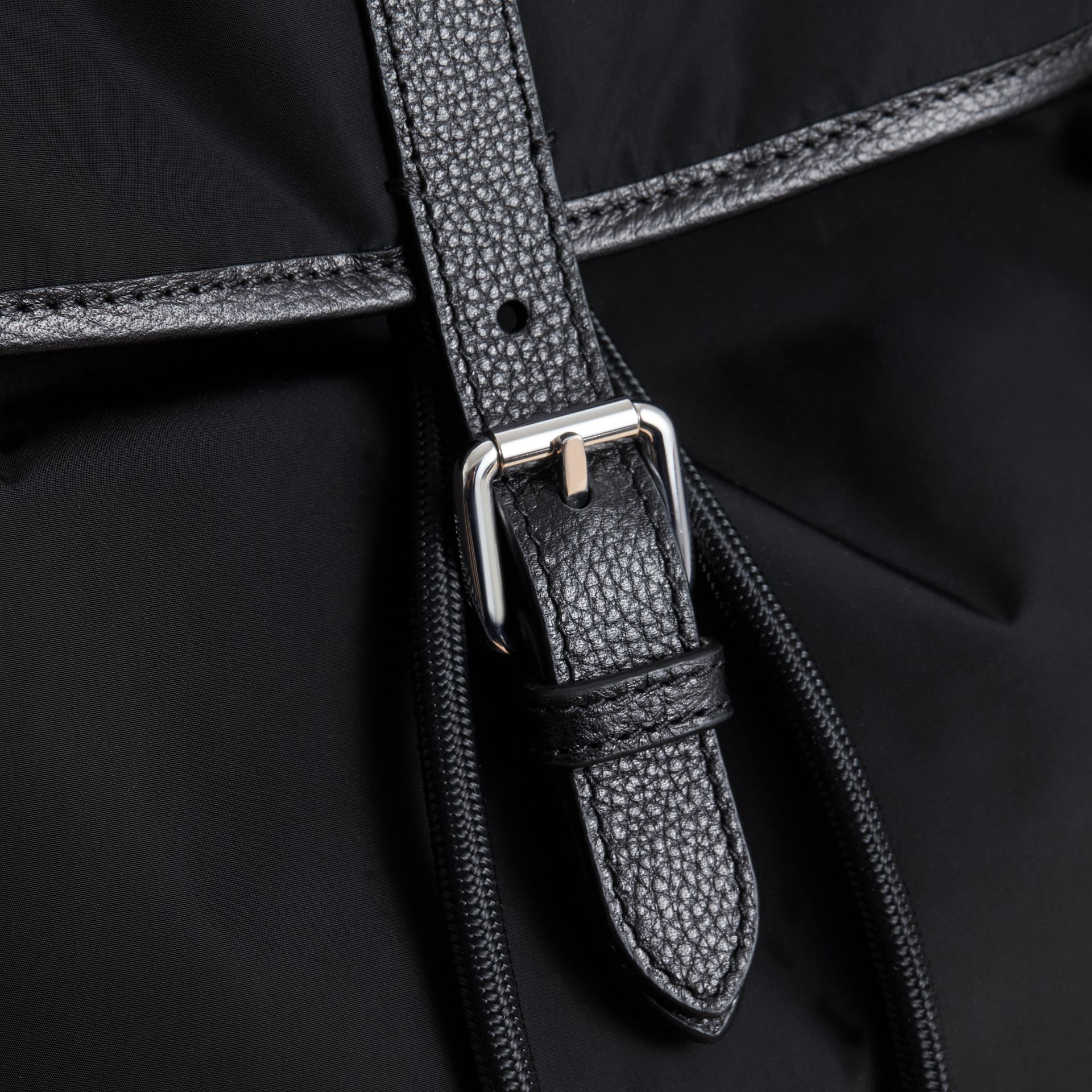 Leather Trim Baby Changing Rucksack in Black | Burberry Australia - gallery image 2