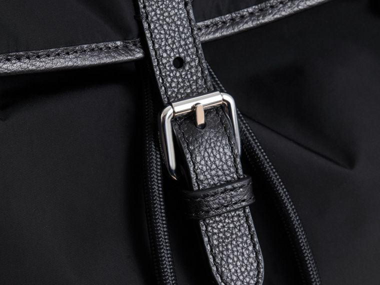 Leather Trim Baby Changing Rucksack in Black | Burberry Australia - cell image 1
