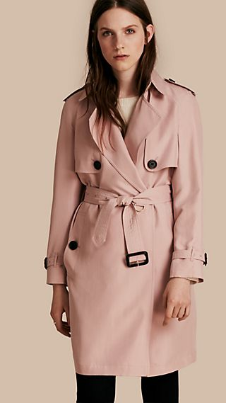 Lightweight Silk Wrap Trench Coat
