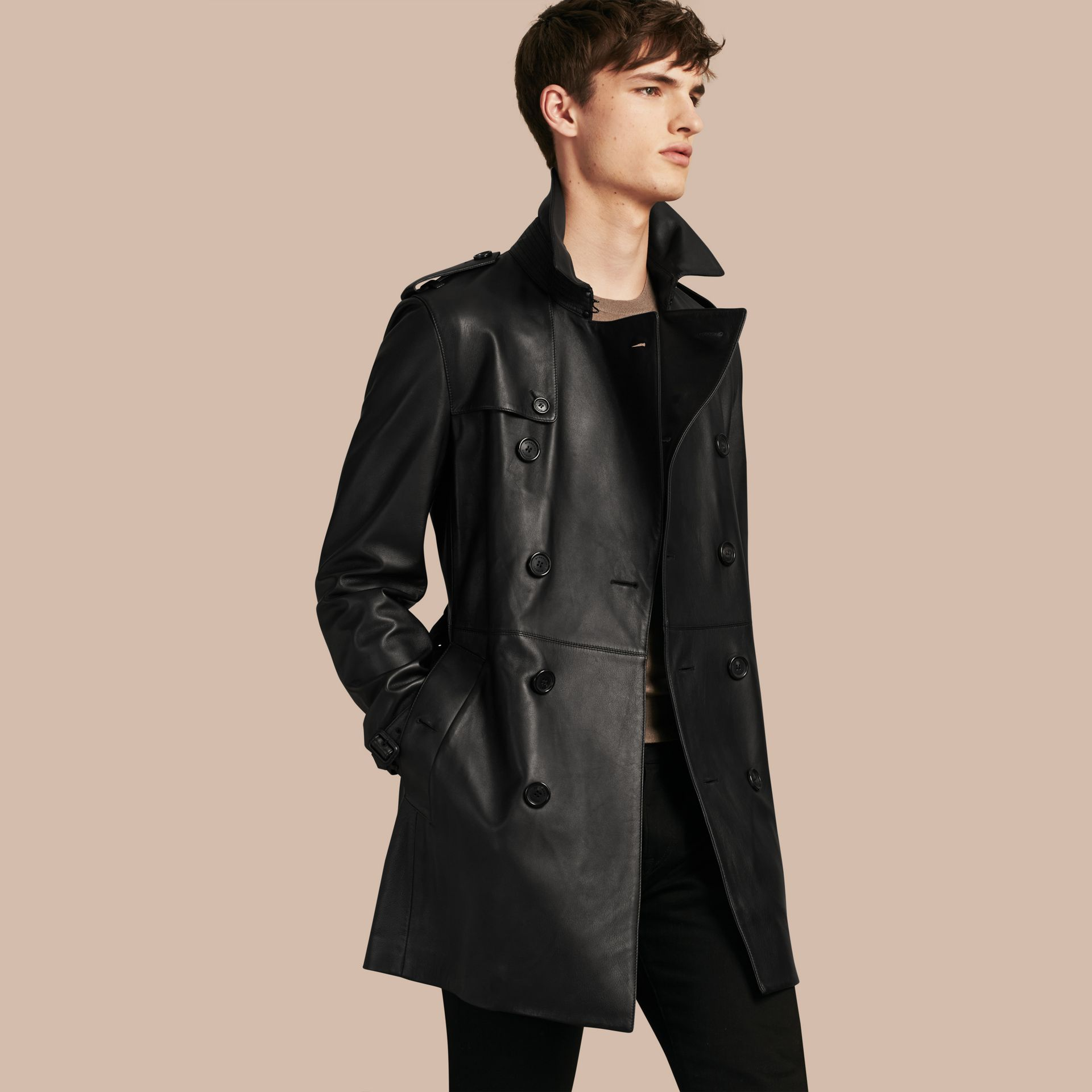 Black Mid-length Lambskin Trench Coat - gallery image 1