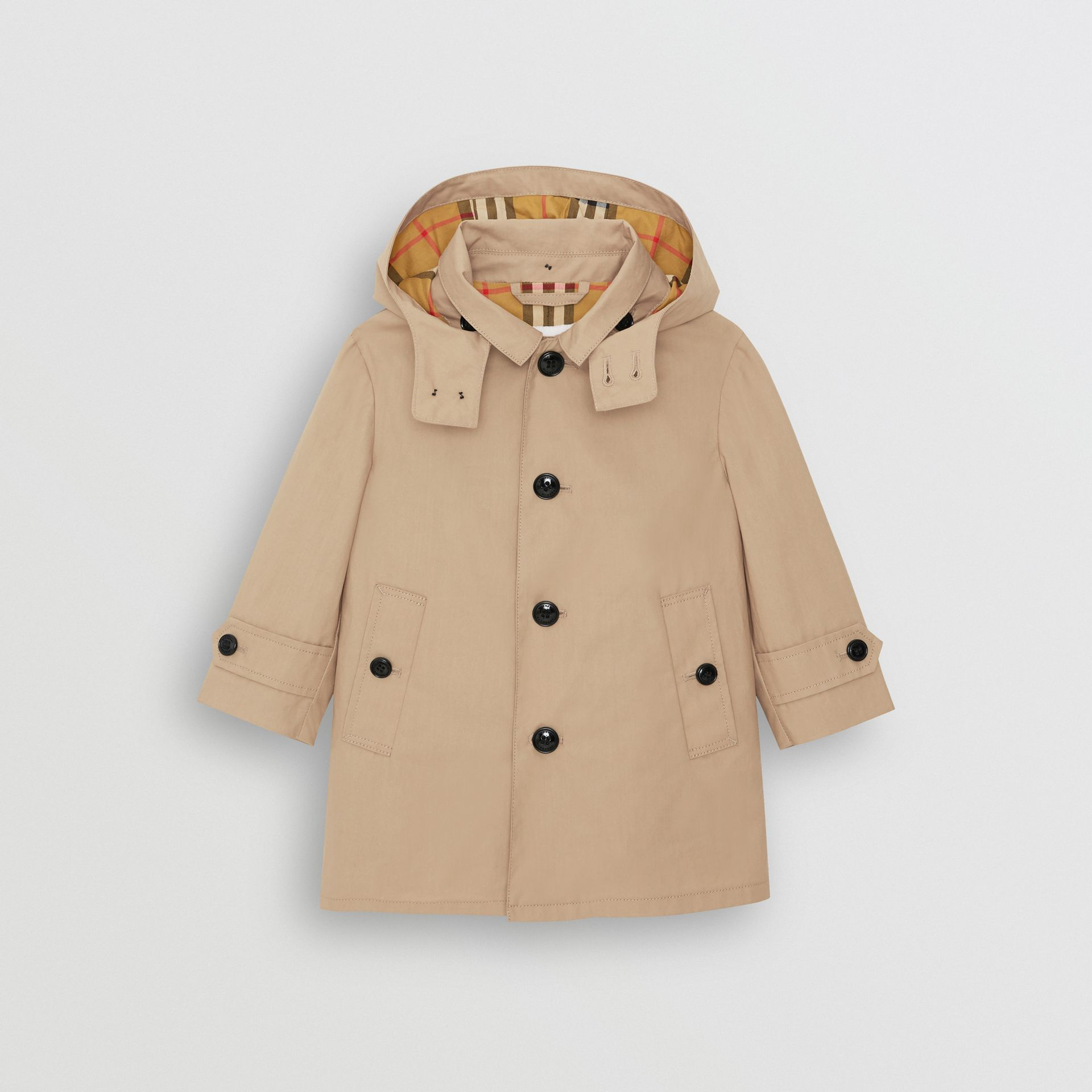 Detachable Hood Cotton Car Coat in Honey - Children | Burberry Hong Kong - gallery image 0
