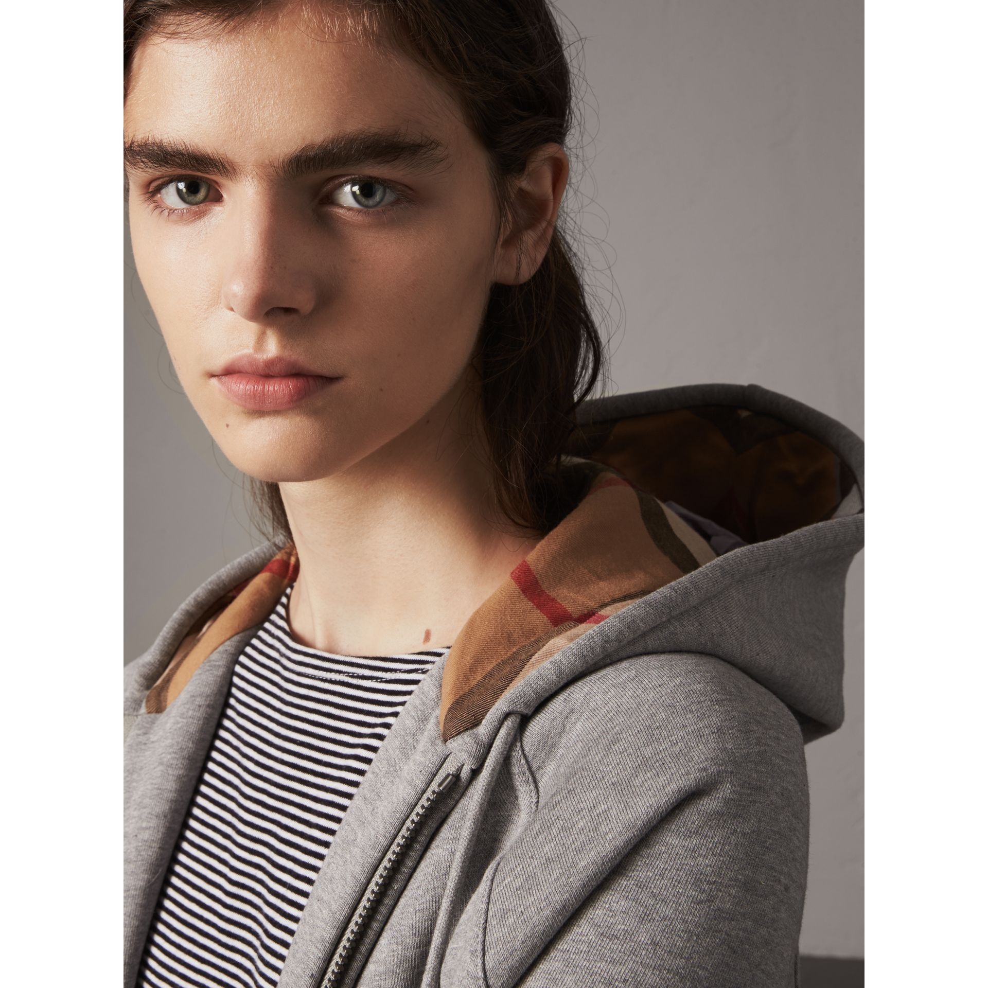 Hooded Zip-front Cotton Blend  Sweatshirt in Pale Grey Melange - Women | Burberry - gallery image 1