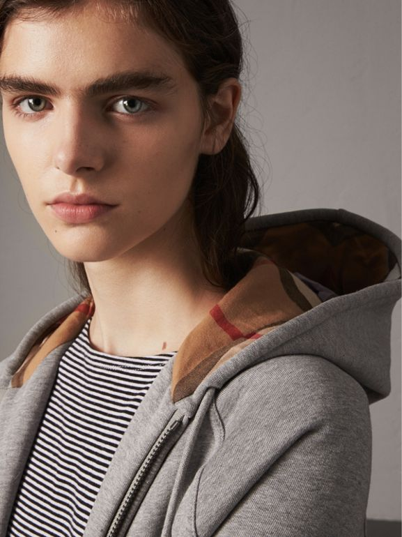 Hooded Zip-front Cotton Blend  Sweatshirt in Pale Grey Melange - Women | Burberry United States - cell image 1