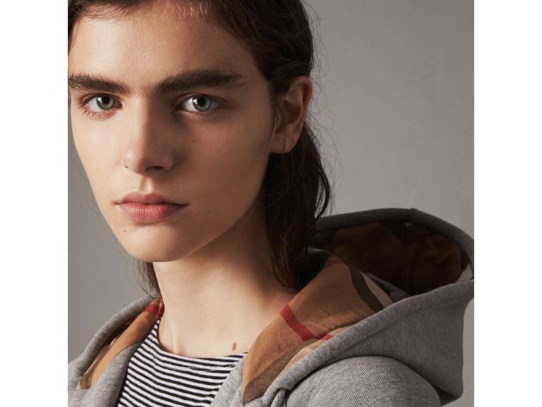 Hooded Zip-front Cotton Blend  Sweatshirt in Pale Grey Melange - Women | Burberry - cell image 1