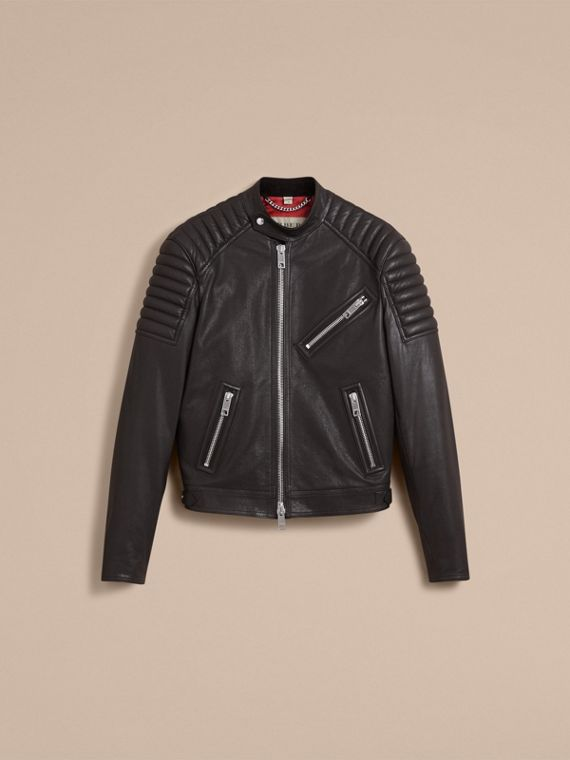 Panel Detail Lambskin Jacket in Black - Men | Burberry - cell image 3