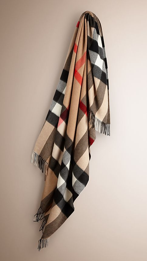 Camel check Check Cashmere Blanket - Image 1