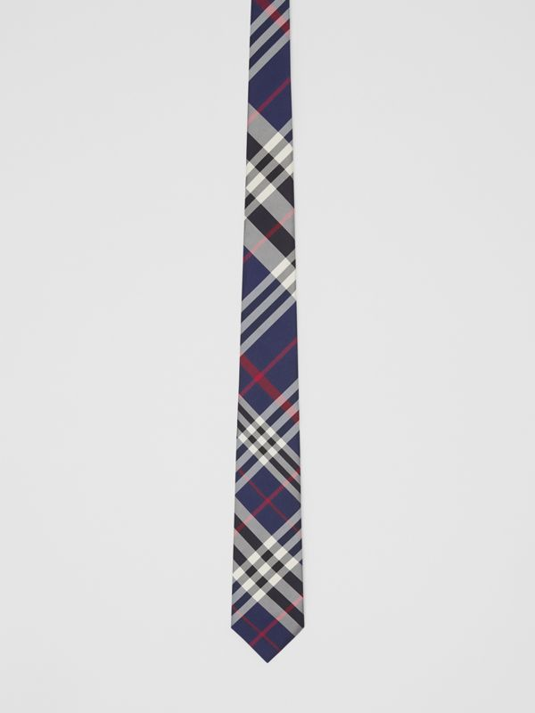 Classic Cut Check Silk Tie in Navy - Men | Burberry Canada - cell image 3