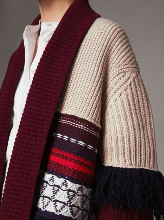 Fringed Wool Cashmere Patchwork Cardigan Coat in Natural White - Women | Burberry - cell image 1