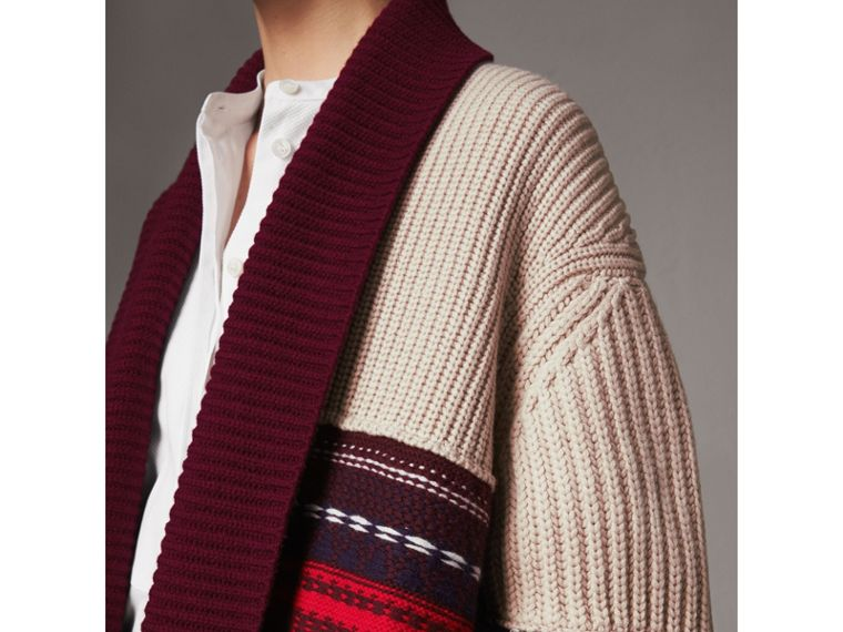 Fringed Wool Cashmere Patchwork Cardigan Coat in Natural White - Women | Burberry United Kingdom - cell image 1