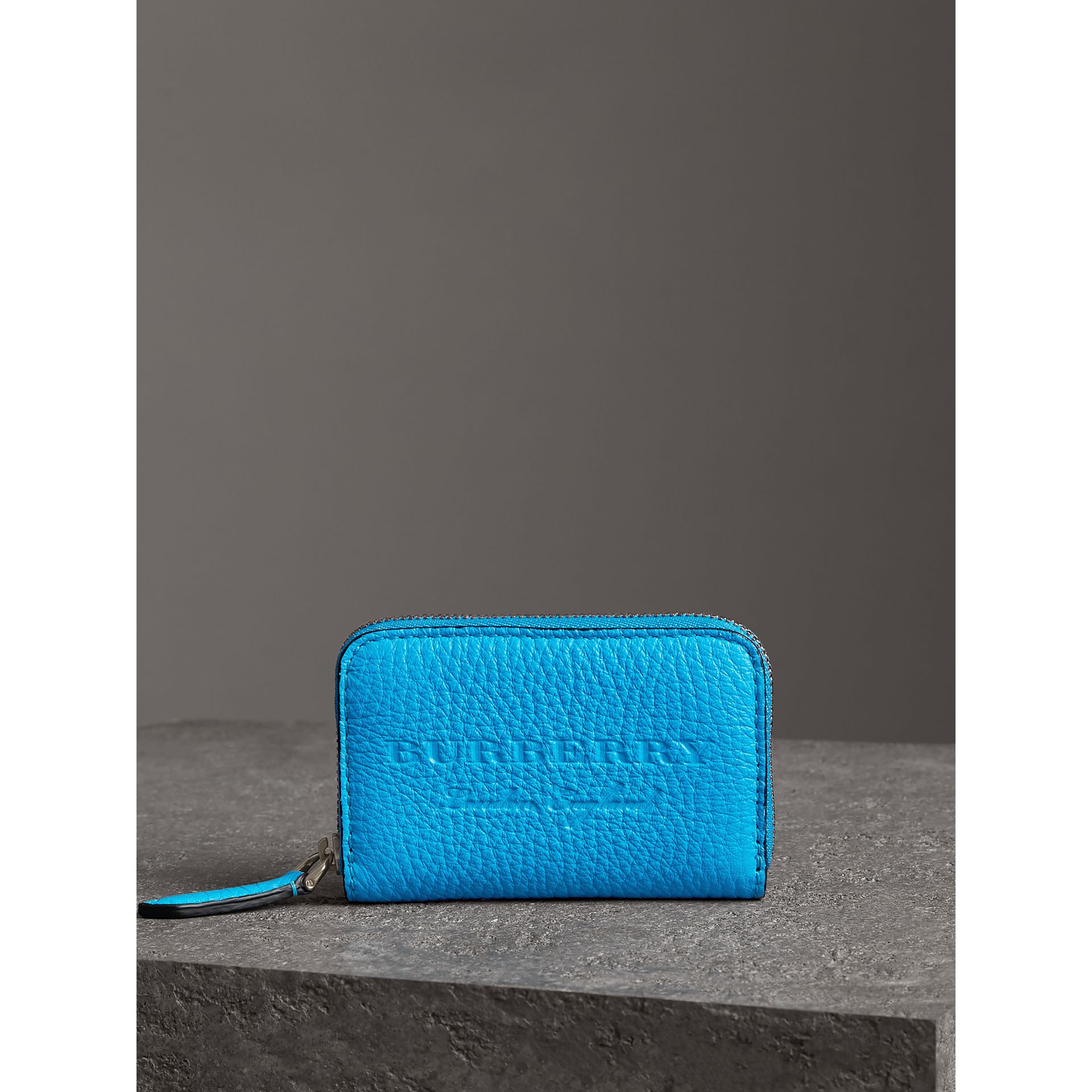 Embossed Leather Ziparound Coin Case in Neon Blue - Men | Burberry - gallery image 4
