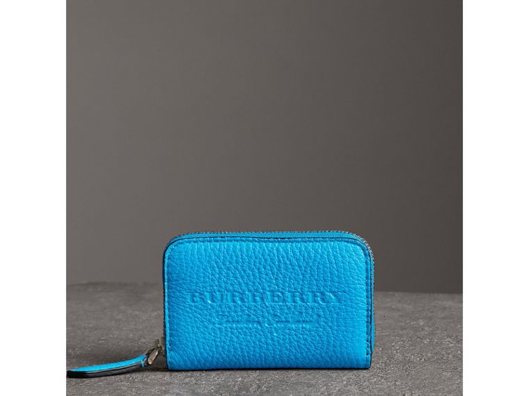 Embossed Leather Ziparound Coin Case in Neon Blue - Men | Burberry Canada - cell image 4