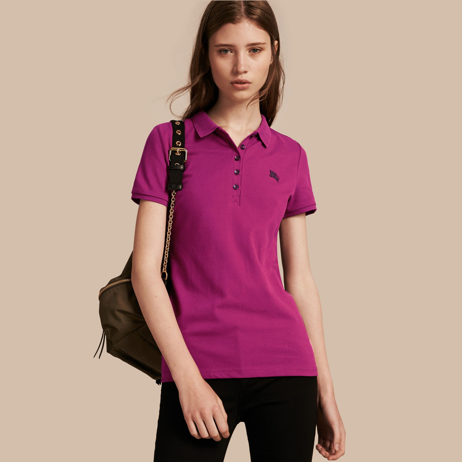 Cotton Piqué Polo Shirt in Magenta Pink - gallery image 1