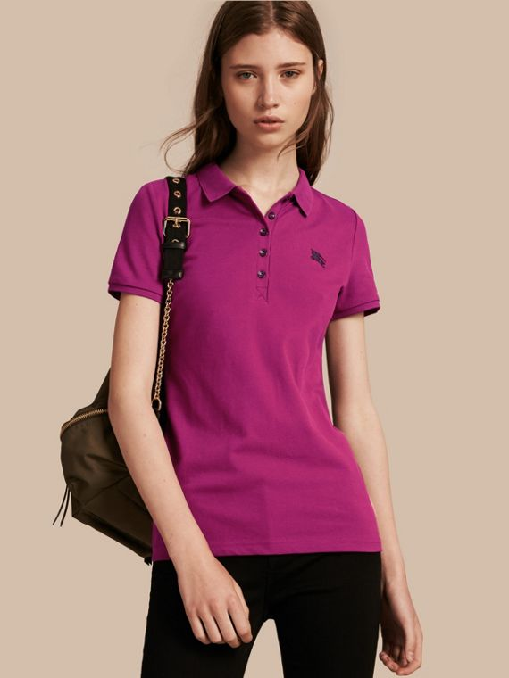 Cotton Piqué Polo Shirt Magenta Pink