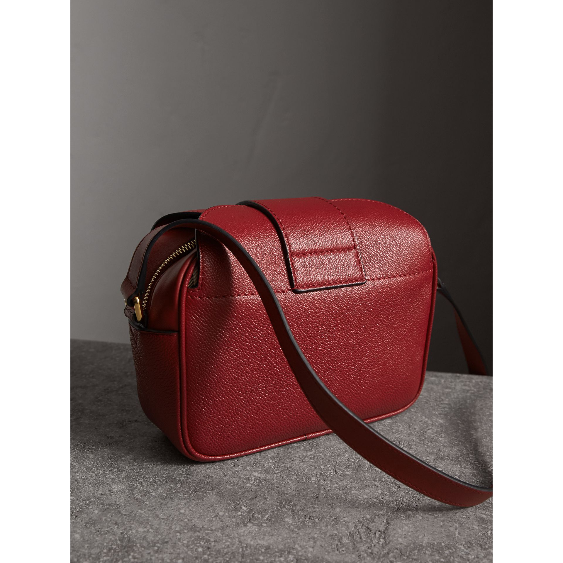 The Small Buckle Crossbody Bag in Leather in Parade Red - Women | Burberry - gallery image 3