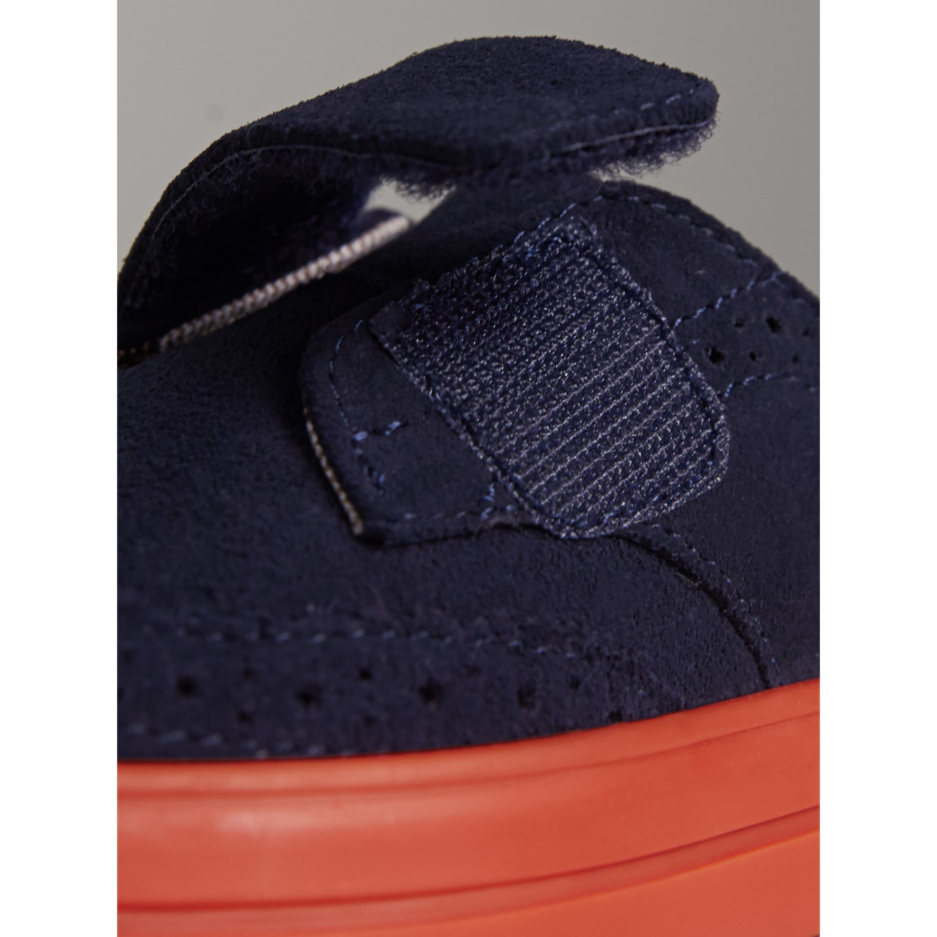 Two-tone Brogue Detail Suede Trainers in Blue Carbon | Burberry - gallery image 2