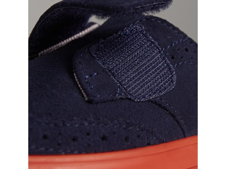Two-tone Brogue Detail Suede Trainers in Blue Carbon | Burberry - cell image 1