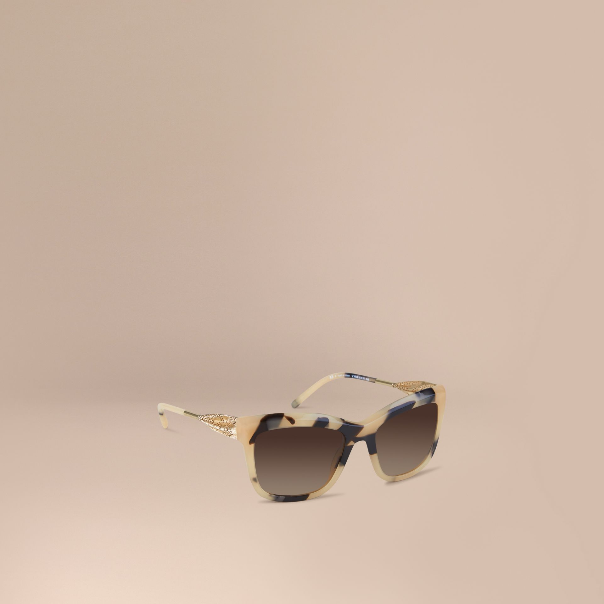 Mid tone horn Gabardine Lace Collection Square Frame Sunglasses Mid Tone Horn - gallery image 1