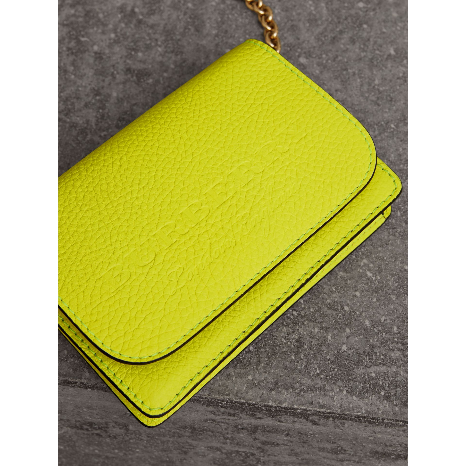 Embossed Leather Wallet with Detachable Strap in Bright Yellow - Women | Burberry - gallery image 1