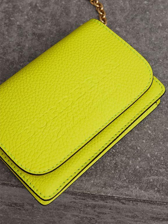 Embossed Leather Wallet with Detachable Strap in Bright Yellow - Women | Burberry United Kingdom - cell image 1