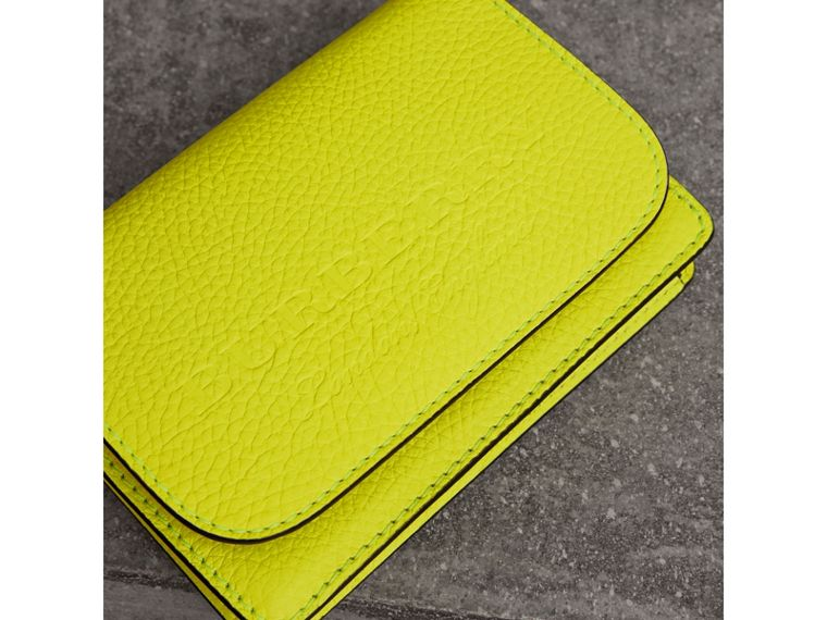 Embossed Leather Wallet with Detachable Strap in Bright Yellow - Women | Burberry - cell image 1