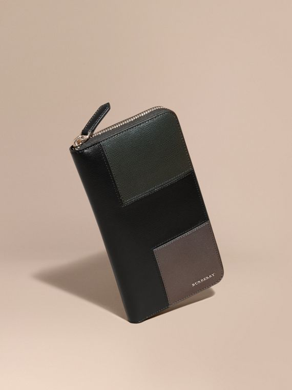 Panelled London Leather Ziparound Wallet Black