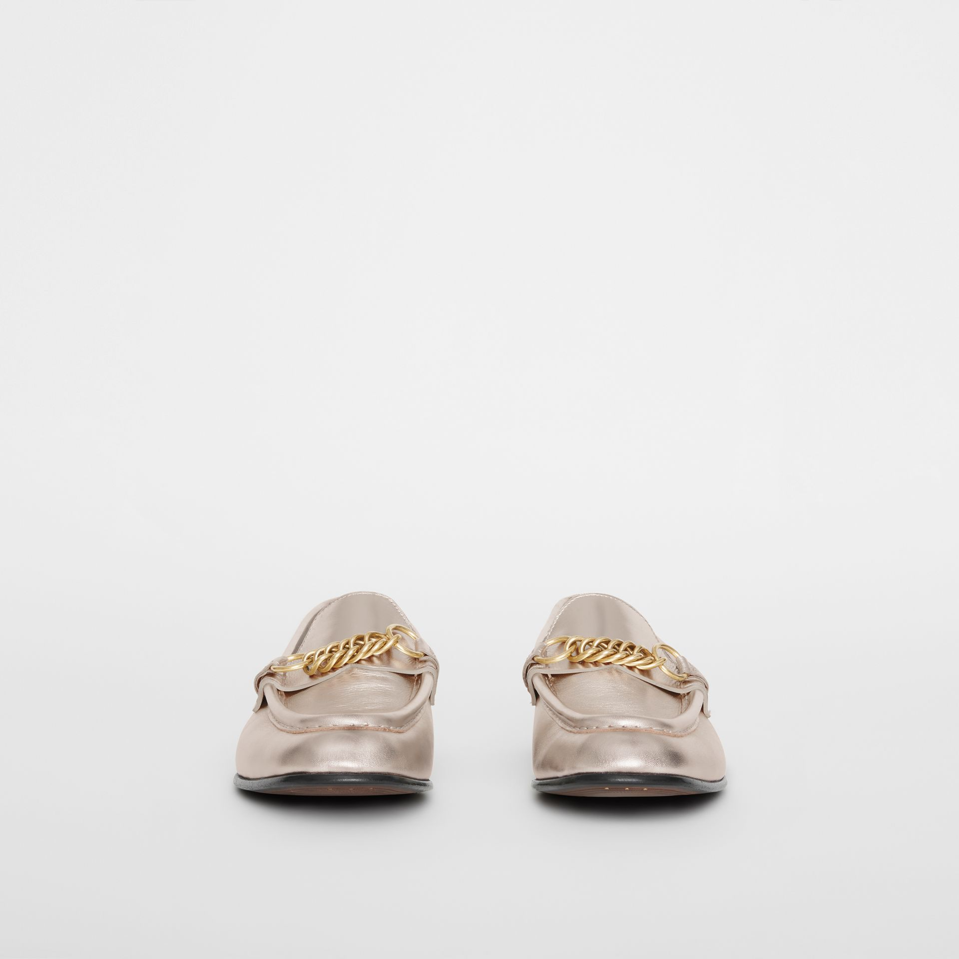 The Metallic Leather Link Loafer in Light Gold - Women | Burberry - gallery image 3