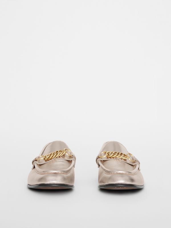 The Metallic Leather Link Loafer in Light Gold - Women | Burberry - cell image 2