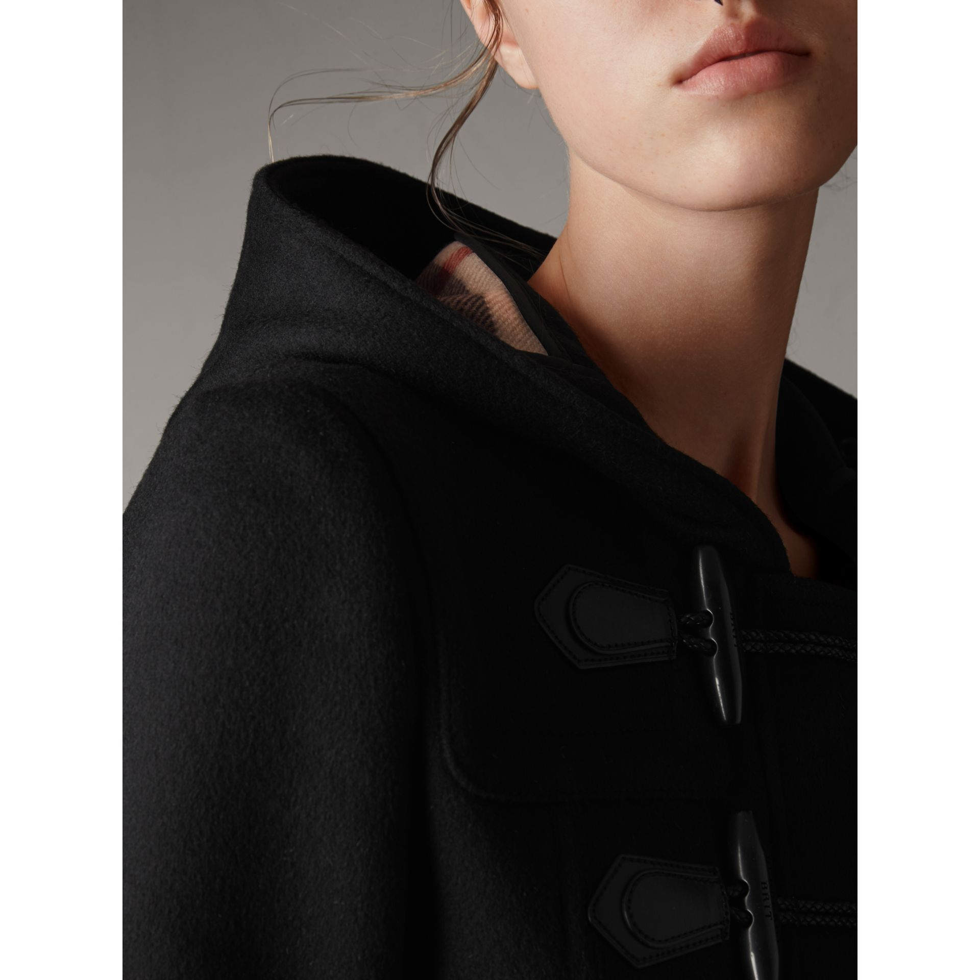 Detachable Fur Trim Wool Duffle Coat in Black - Women | Burberry - gallery image 2