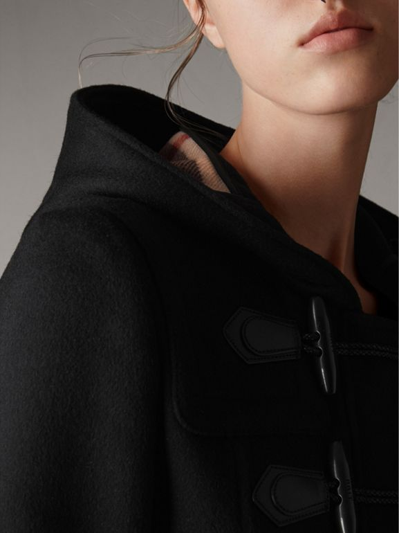 Detachable Fur Trim Wool Duffle Coat in Black - Women | Burberry - cell image 1