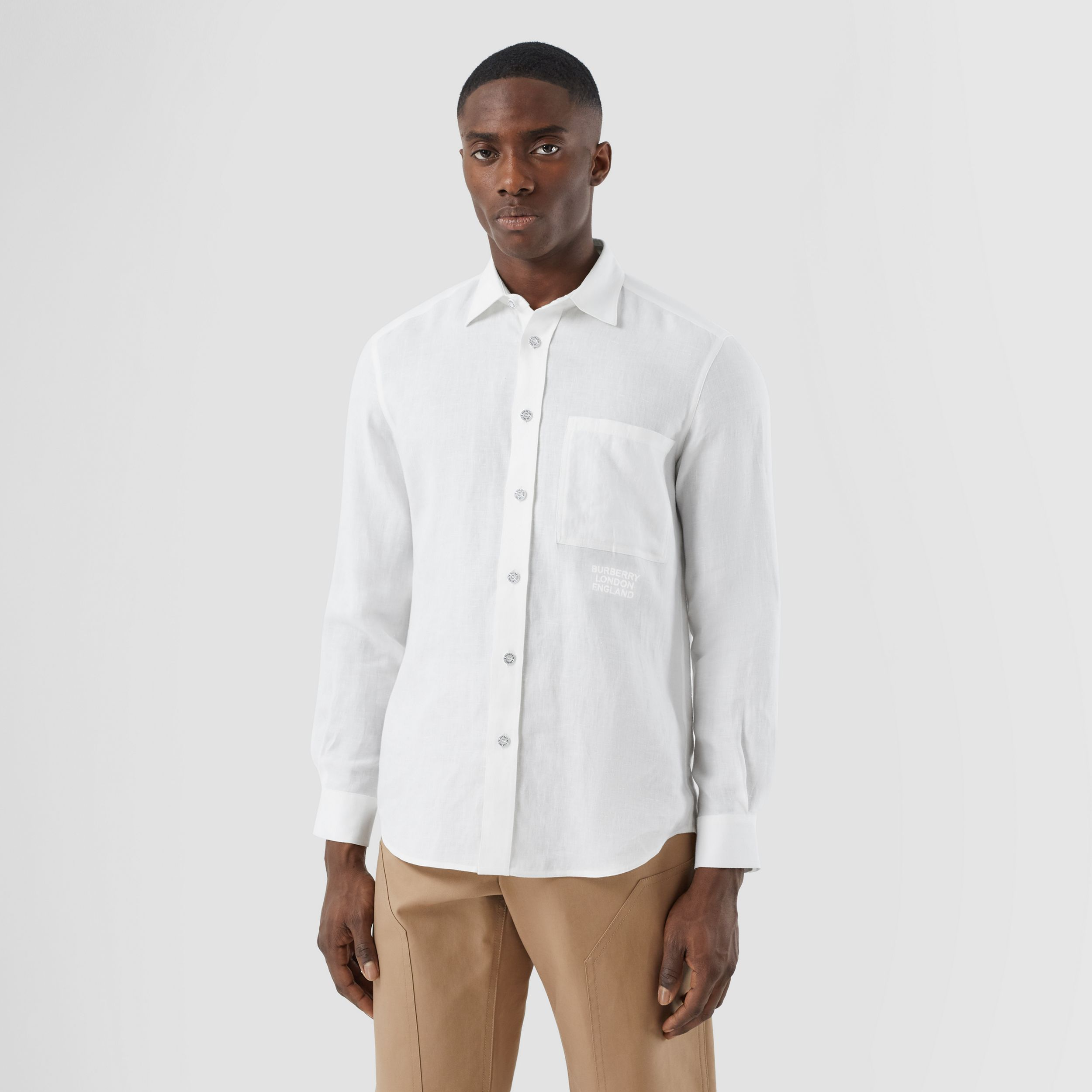 Embroidered Logo Linen Shirt in White - Men | Burberry - 1