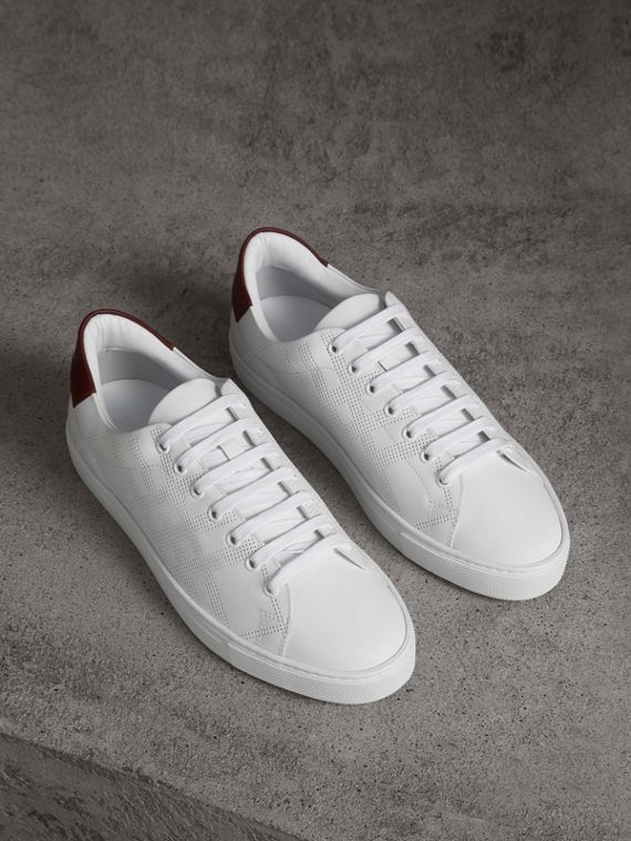 Perforated Check Leather Sneakers in Optic White