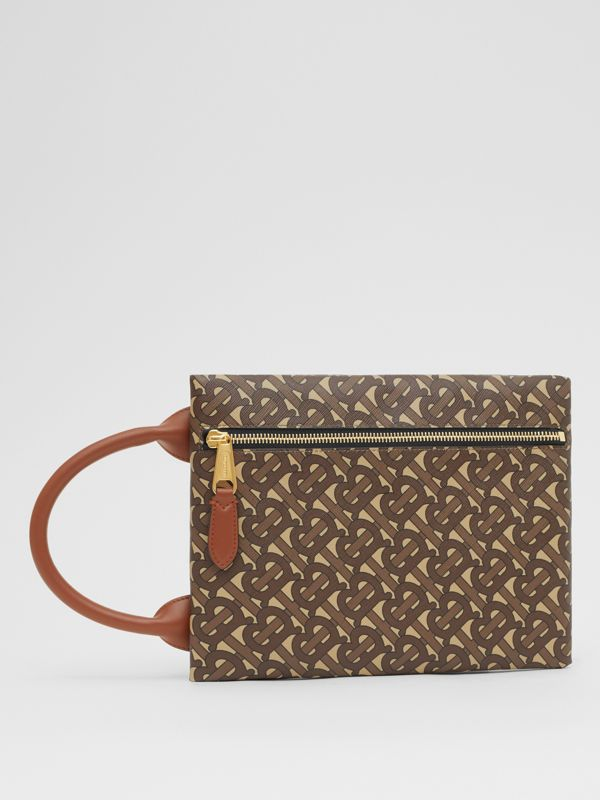 Monogram Print E-canvas Portrait Pouch in Bridle Brown - Men | Burberry - cell image 3