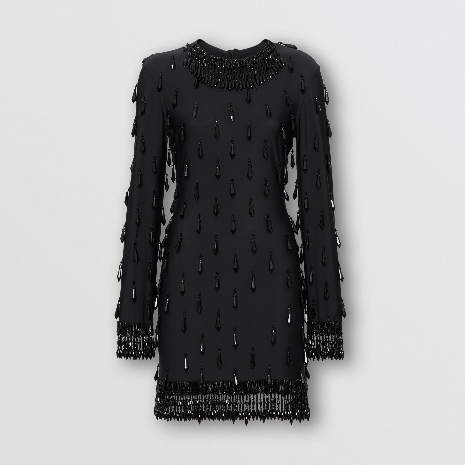 Long-sleeve Embellished Mini Dress in Black - Women | Burberry Hong Kong - gallery image 3
